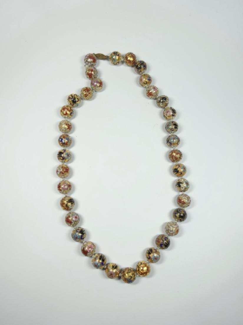 "CLOISONNE BEAD NECKLACE, APPROX 21""L - 4"