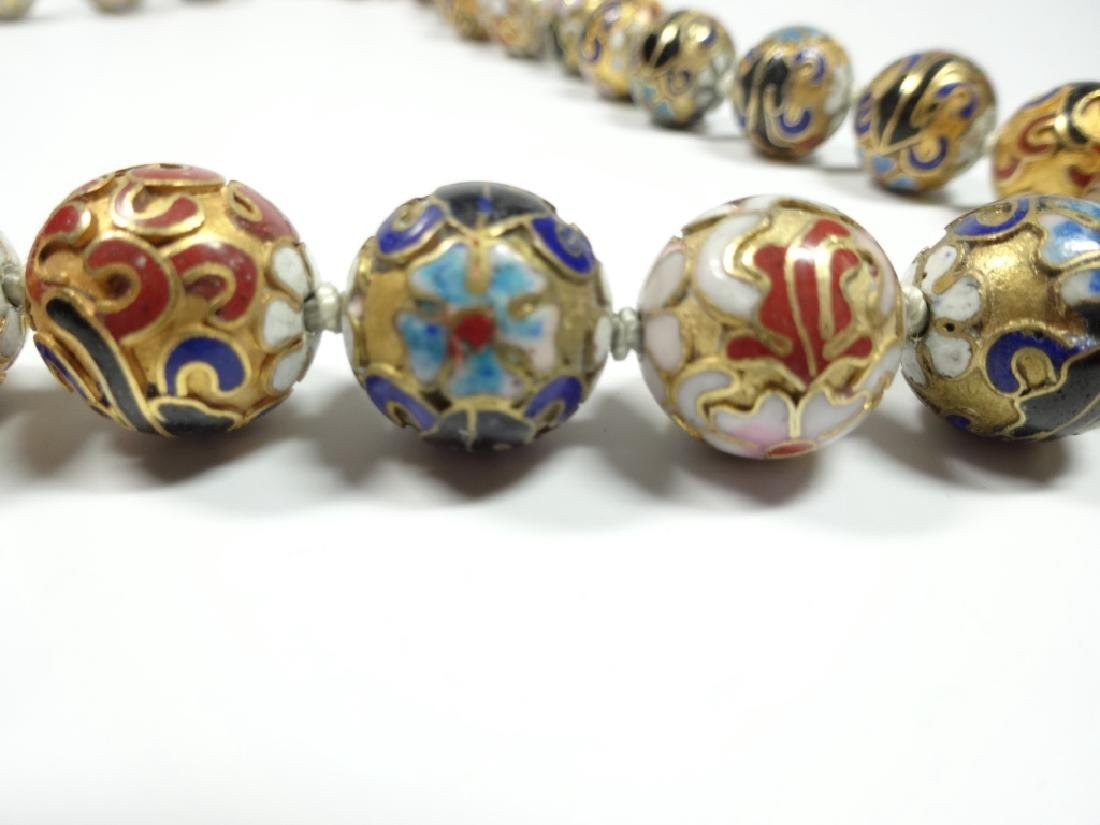 "CLOISONNE BEAD NECKLACE, APPROX 21""L - 5"