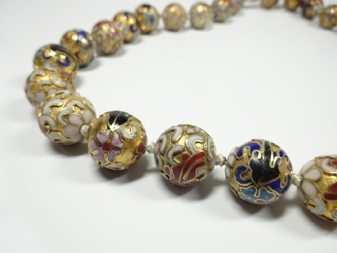 "CLOISONNE BEAD NECKLACE, APPROX 21""L - 7"
