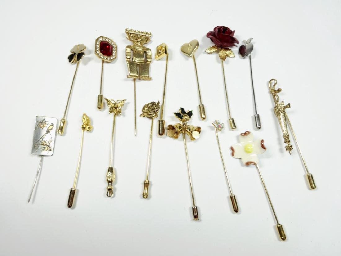 15 STICK PINS, GOLD TONE, ASSORTED DESIGNS