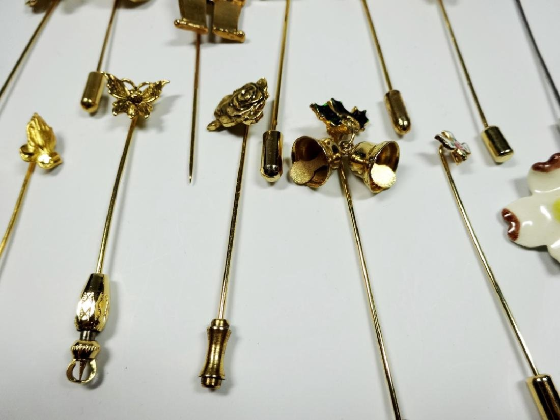 15 STICK PINS, GOLD TONE, ASSORTED DESIGNS - 3