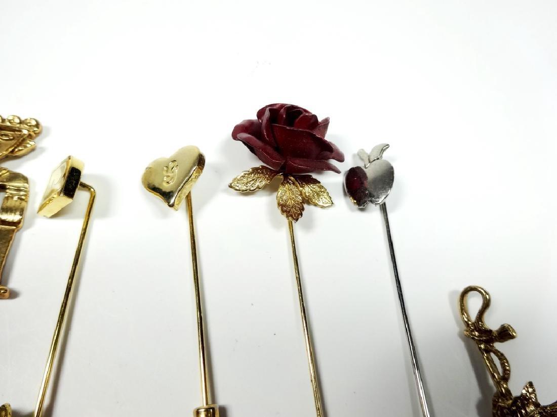 15 STICK PINS, GOLD TONE, ASSORTED DESIGNS - 5