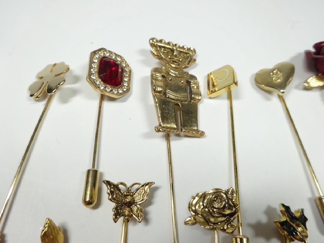 15 STICK PINS, GOLD TONE, ASSORTED DESIGNS - 6