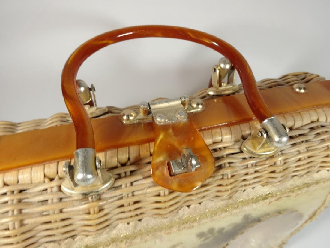 VINTAGE PRINCESS CHARMING BY ATLAS WICKER PURSE, LUCITE - 4