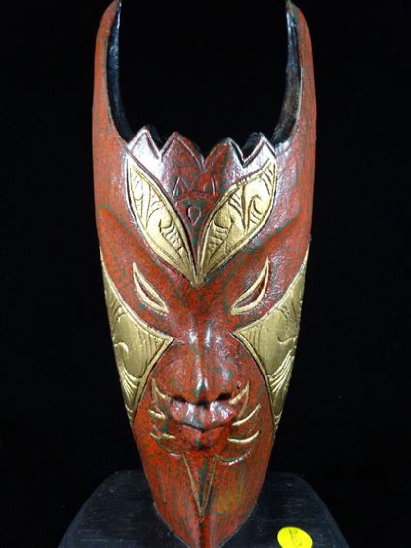 CARVED AND PAINTED WOOD MASK SCULPTURE WITH GILT - 3