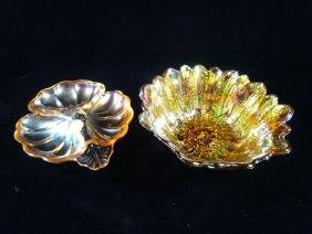 2 PC AMBER CARNIVAL GLASS BOWL AND DISH, VERY GOOD