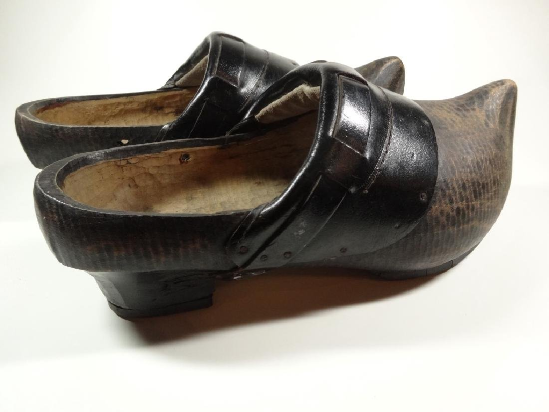 PAIR OF WOODEN CLOGS, CONTEMPORARY, FROM HOLLAND, WITH - 3