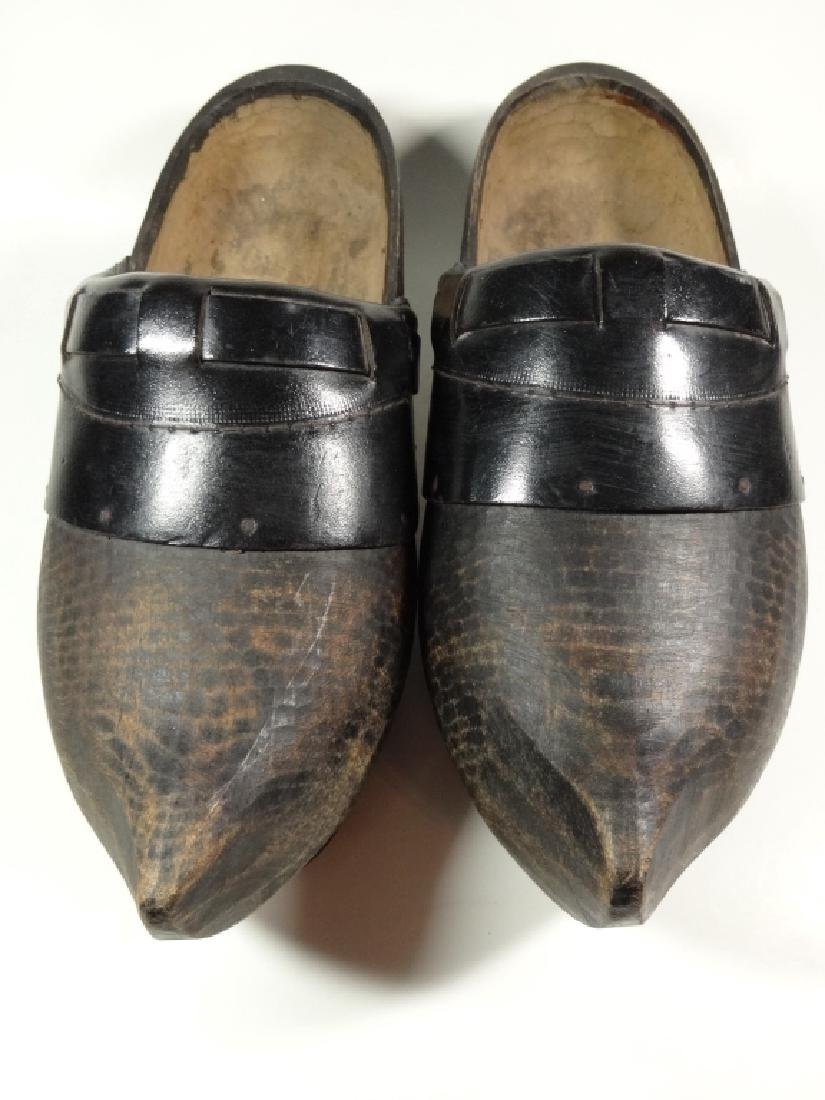 PAIR OF WOODEN CLOGS, CONTEMPORARY, FROM HOLLAND, WITH - 4