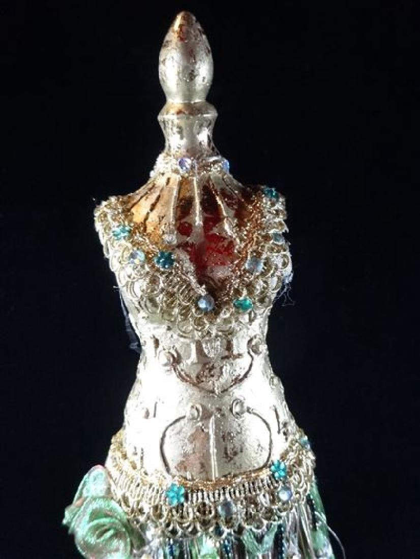 JEWELRY NECKLACE HOLDER, DRESS FORM IN GREEN, VERY GOOD - 3