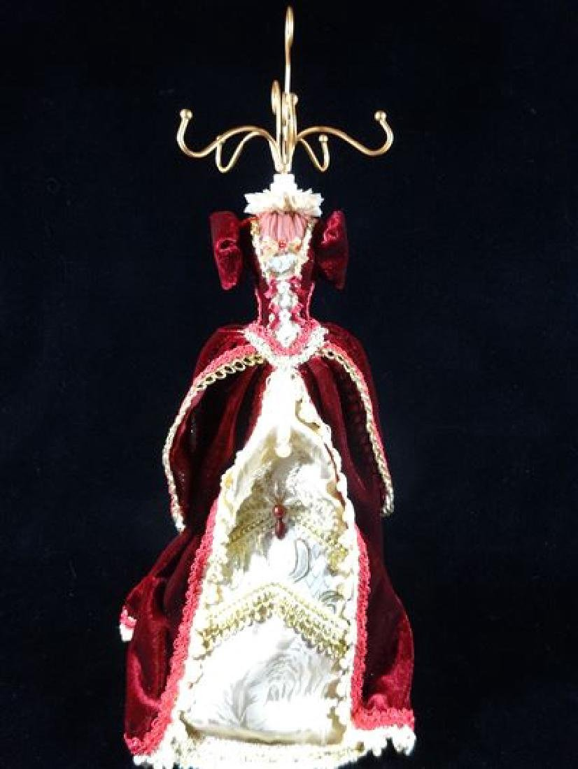 JEWELRY NECKLACE HOLDER, DRESS FORM IN BURGUNDY RED,