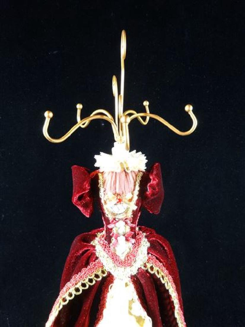 JEWELRY NECKLACE HOLDER, DRESS FORM IN BURGUNDY RED, - 3