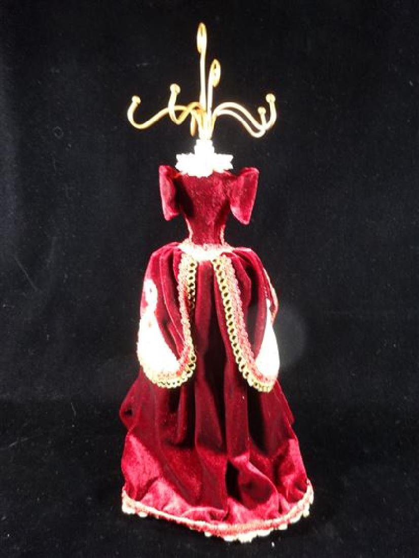 JEWELRY NECKLACE HOLDER, DRESS FORM IN BURGUNDY RED, - 4