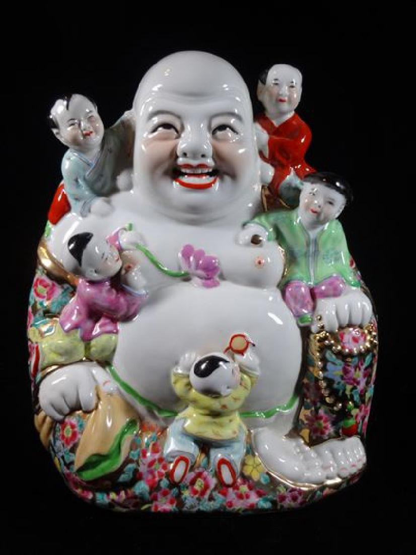 CHINESE PORCELAIN BUDDHA SCULPTURE, VERY GOOD