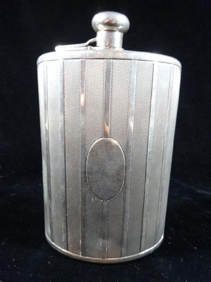 "SILVER PLATED HIP FLASK WITH CAP, 7"" X 4"", VERY GOOD"