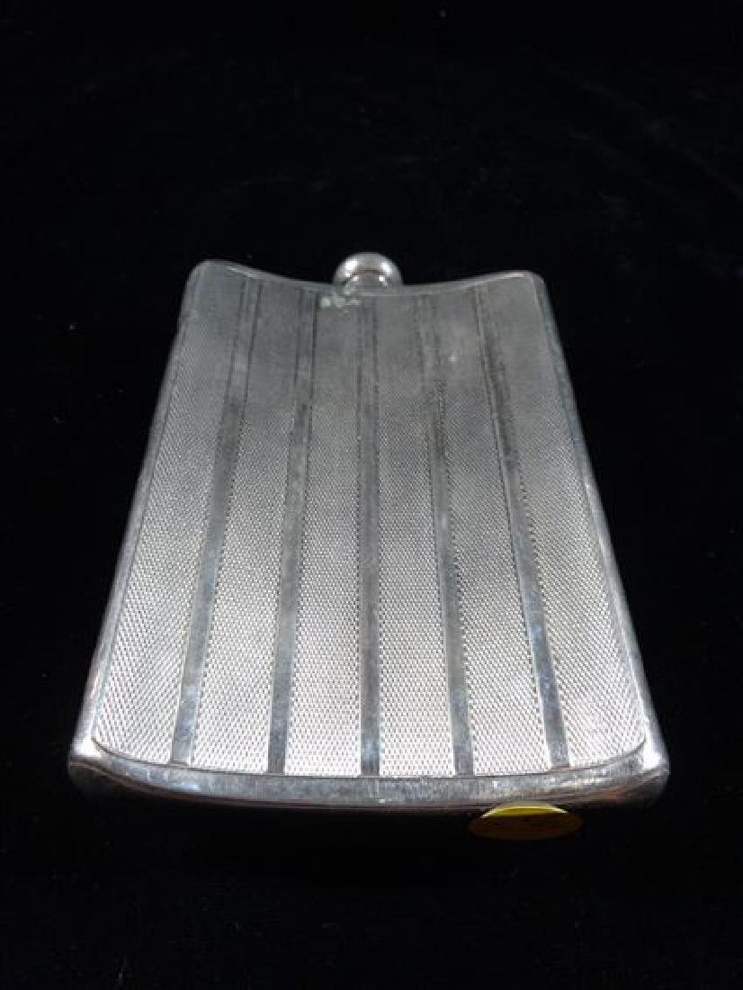 "SILVER PLATED HIP FLASK WITH CAP, 7"" X 4"", VERY GOOD - 3"