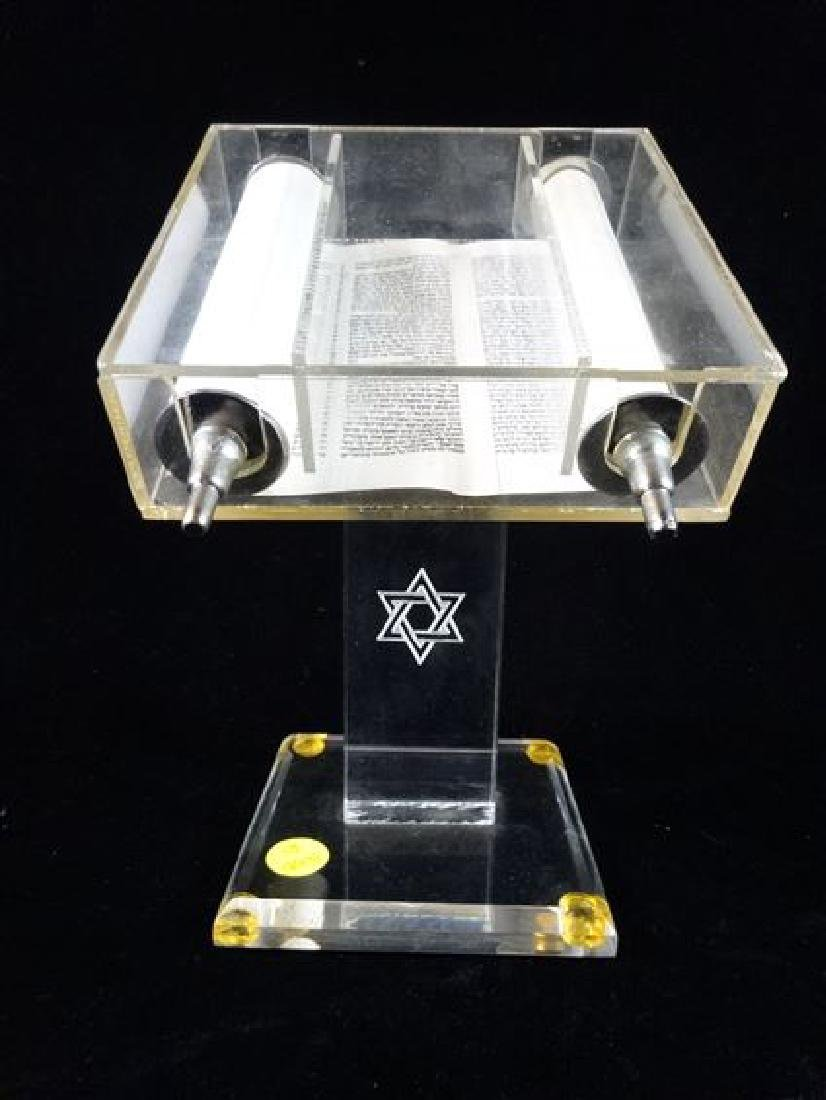 TORAH IN LUCITE BOX WITH STAND, VERY GOOD CONDITION,