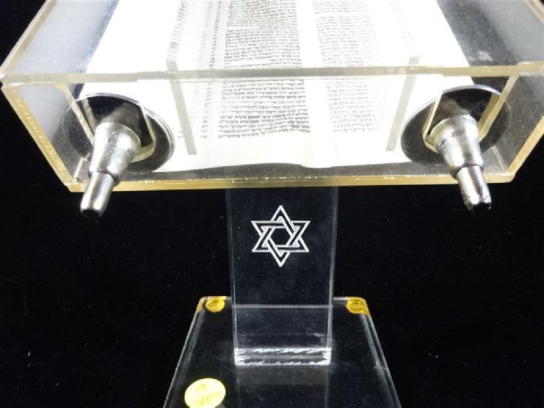 TORAH IN LUCITE BOX WITH STAND, VERY GOOD CONDITION, - 3