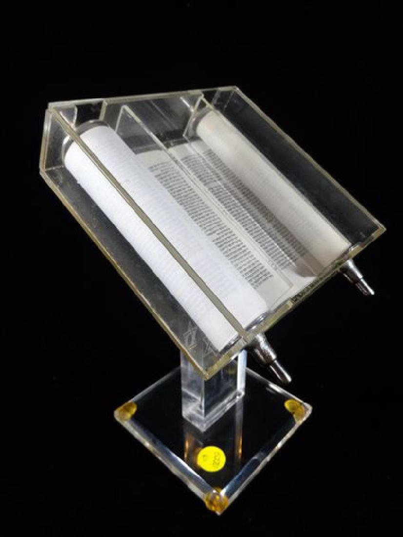 TORAH IN LUCITE BOX WITH STAND, VERY GOOD CONDITION, - 4