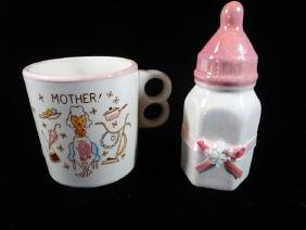 2 PIECE CERAMIC MOTHER'S CUP AND BABY BOTTLE BANK, VERY