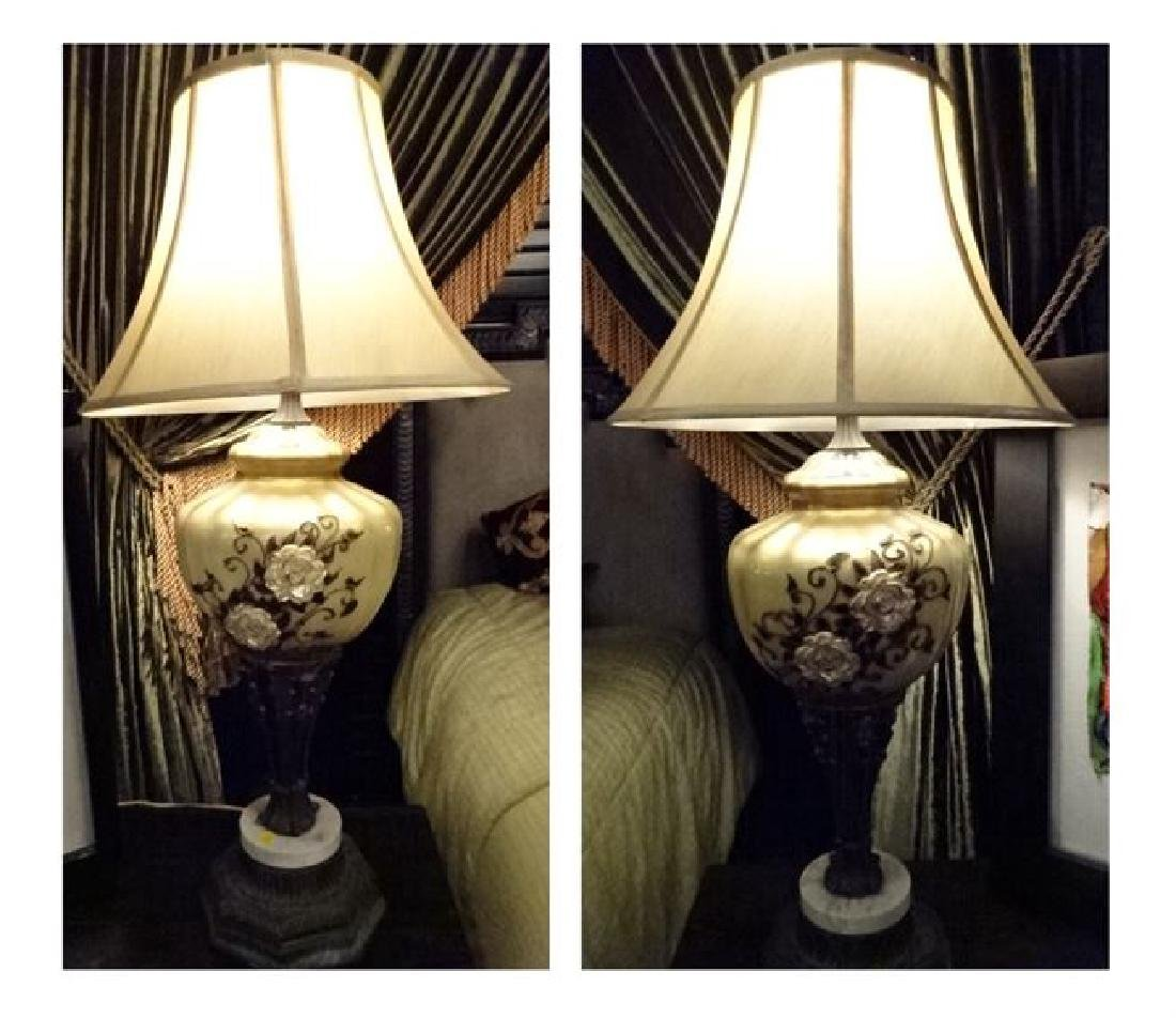 PAIR TALL VINTAGE LAMPS, PORCELAIN AND METAL WITH