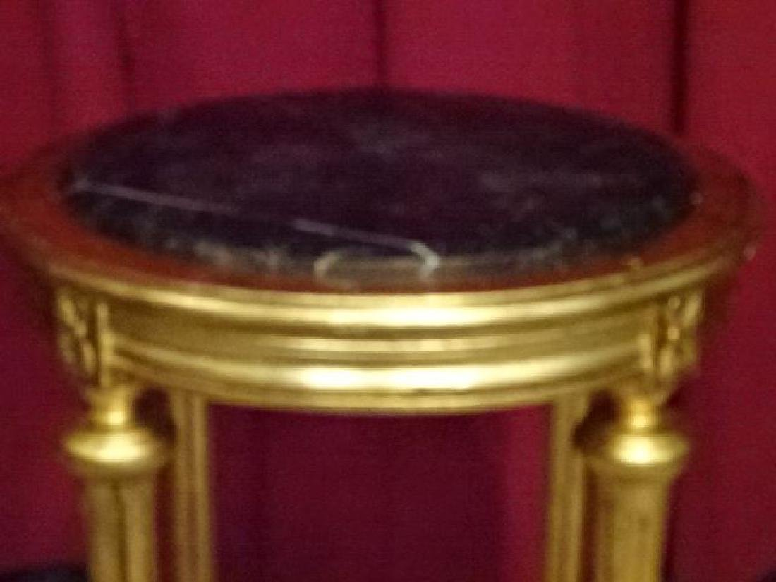LOUIS XVI STYLE GOLD GILT WOOD PEDESTAL TABLE, GREEN - 2
