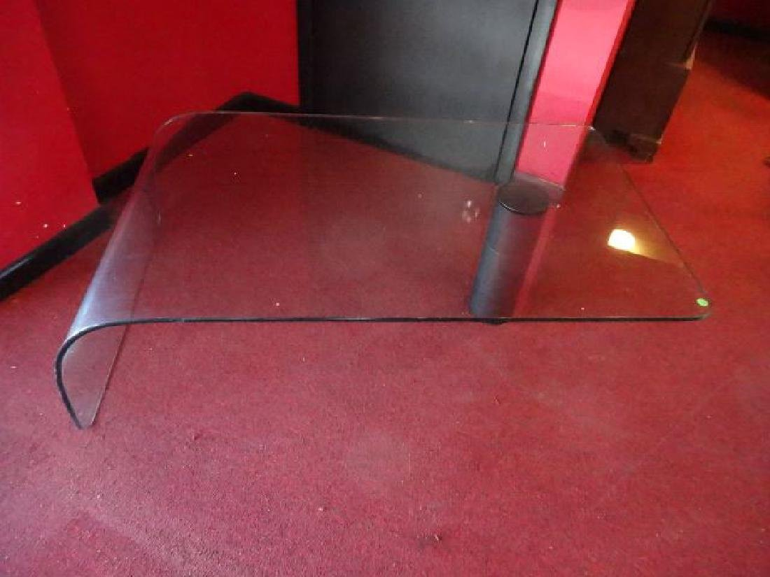 GLASS WATERFALL COFFEE TABLE, BLACK FINISH METAL LEG,