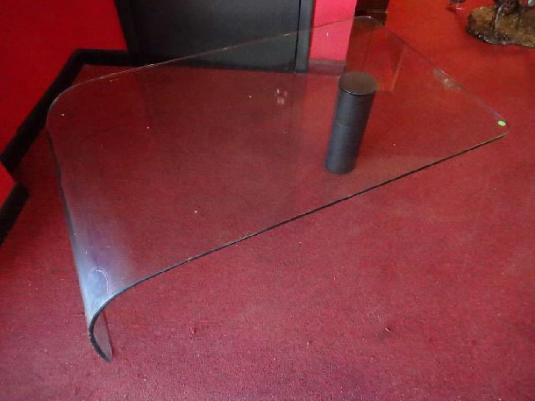GLASS WATERFALL COFFEE TABLE, BLACK FINISH METAL LEG, - 2