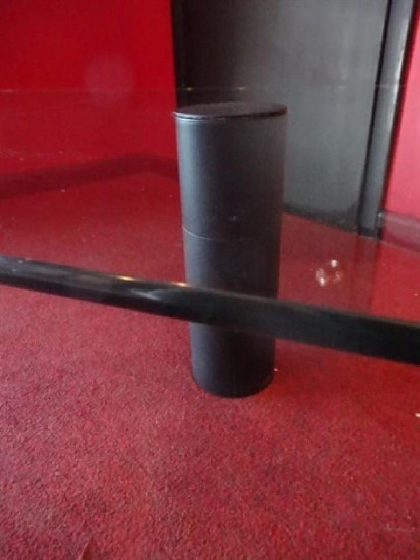 GLASS WATERFALL COFFEE TABLE, BLACK FINISH METAL LEG, - 4