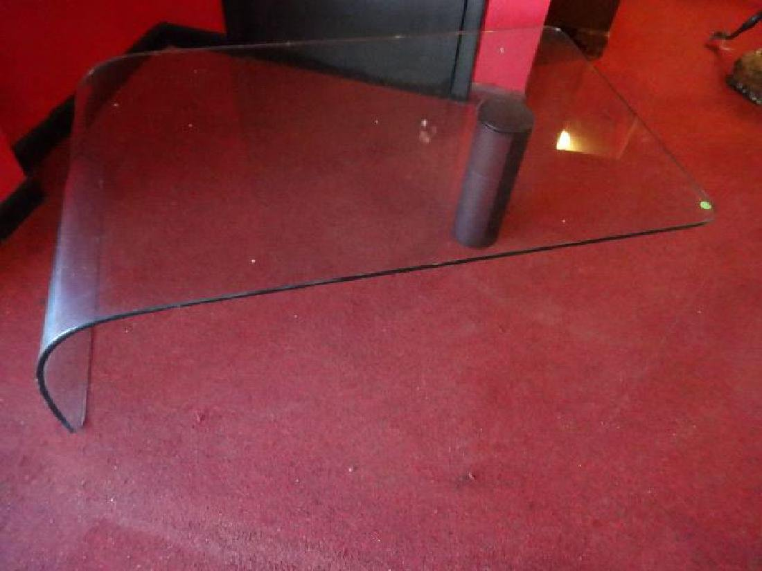 GLASS WATERFALL COFFEE TABLE, BLACK FINISH METAL LEG, - 5