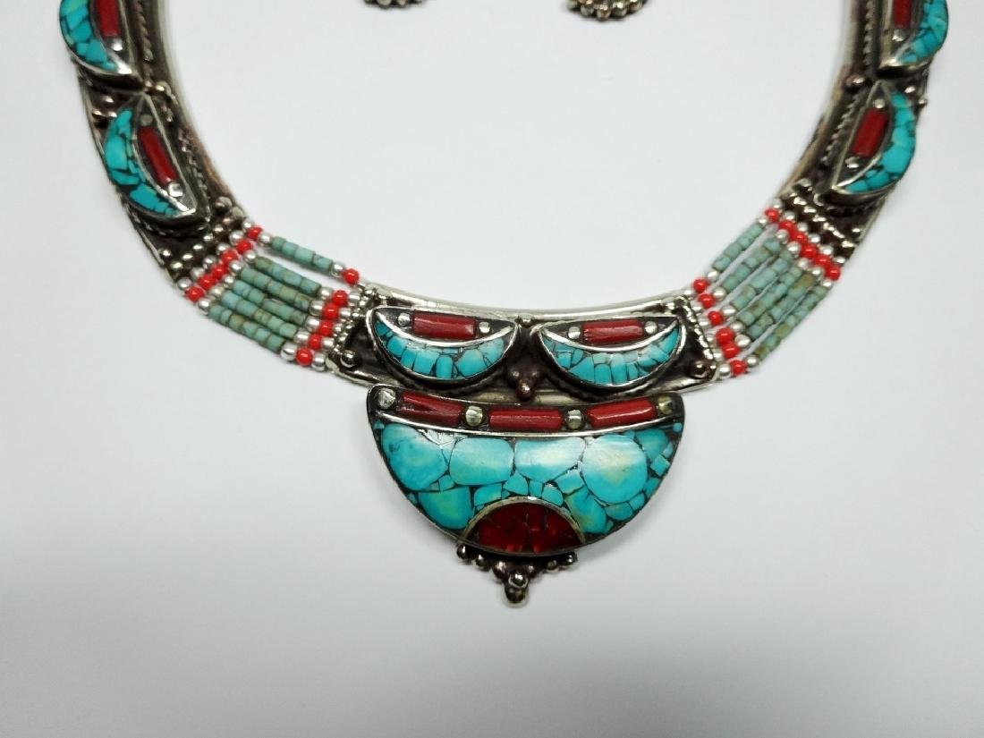 3 PC TIBETAN TURQUOISE & CORAL JEWELRY SET, INCLUDES - 2