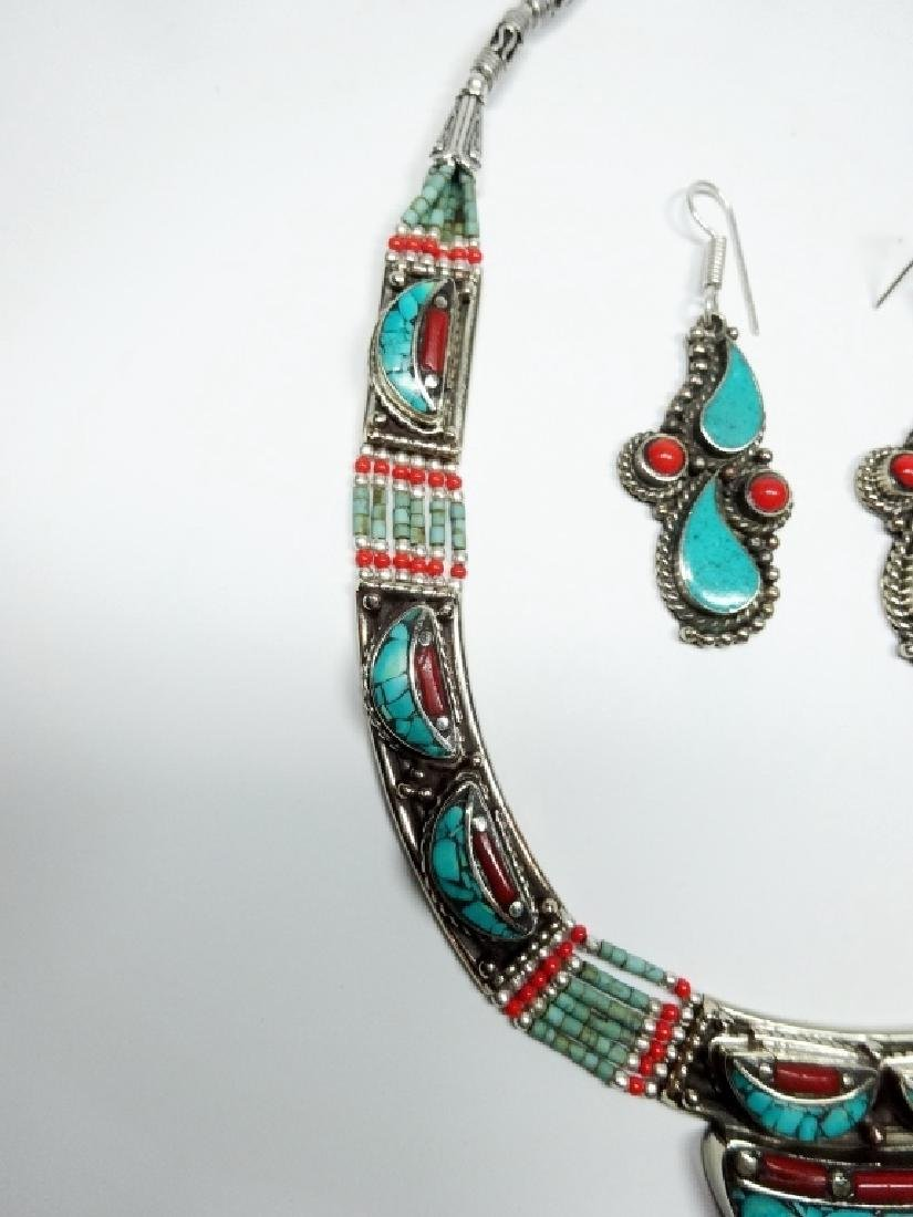 3 PC TIBETAN TURQUOISE & CORAL JEWELRY SET, INCLUDES - 3