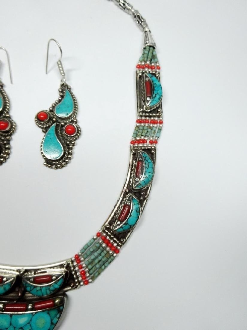 3 PC TIBETAN TURQUOISE & CORAL JEWELRY SET, INCLUDES - 4