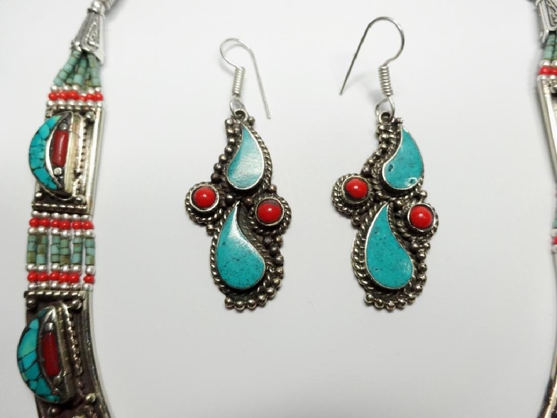 3 PC TIBETAN TURQUOISE & CORAL JEWELRY SET, INCLUDES - 5