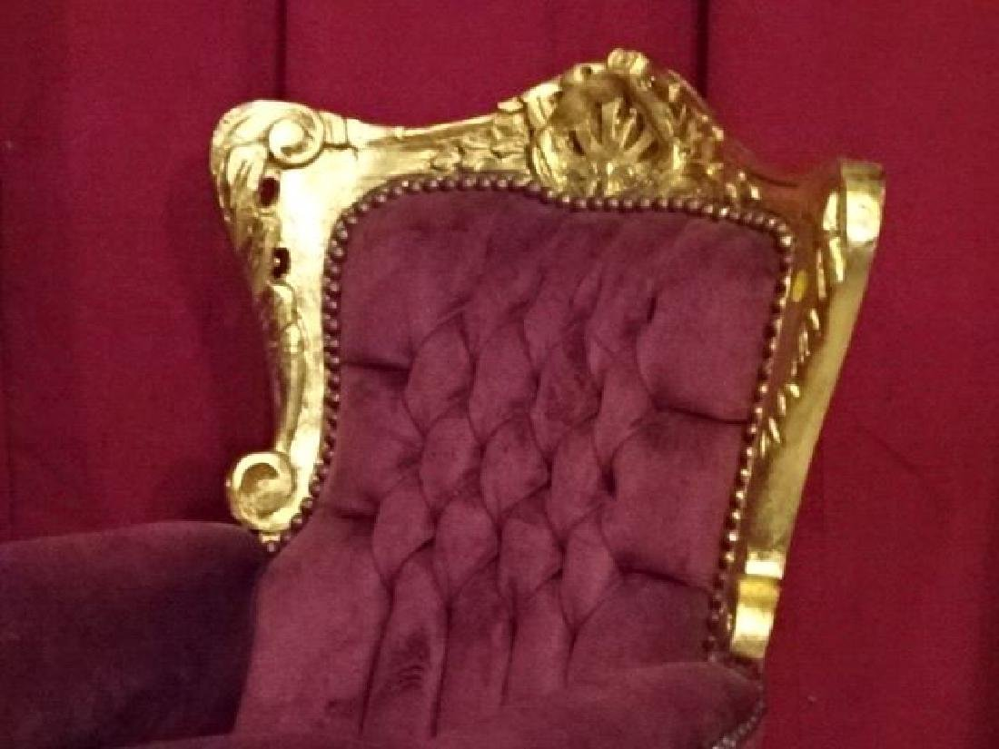CHILD SIZE LOUIS XV STYLE ARM CHAIR, GOLD GILT FRAME, - 2
