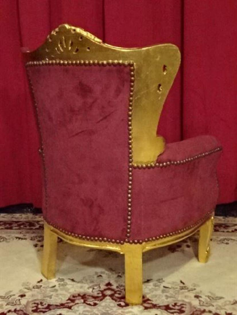 CHILD SIZE LOUIS XV STYLE ARM CHAIR, GOLD GILT FRAME, - 5