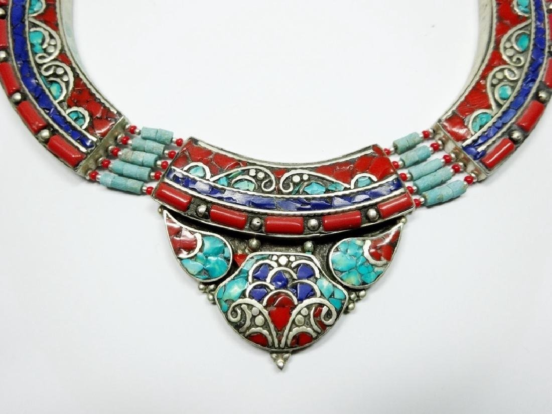 TIBETAN NECKLACE WITH TURQUOISE, LAPIS & CORAL, APPROX