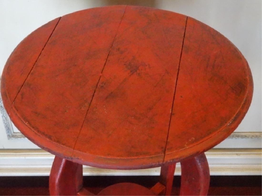 RED PAINTED TABLE, DISTRESSED FINISH, PLANK TOP, VERY - 2