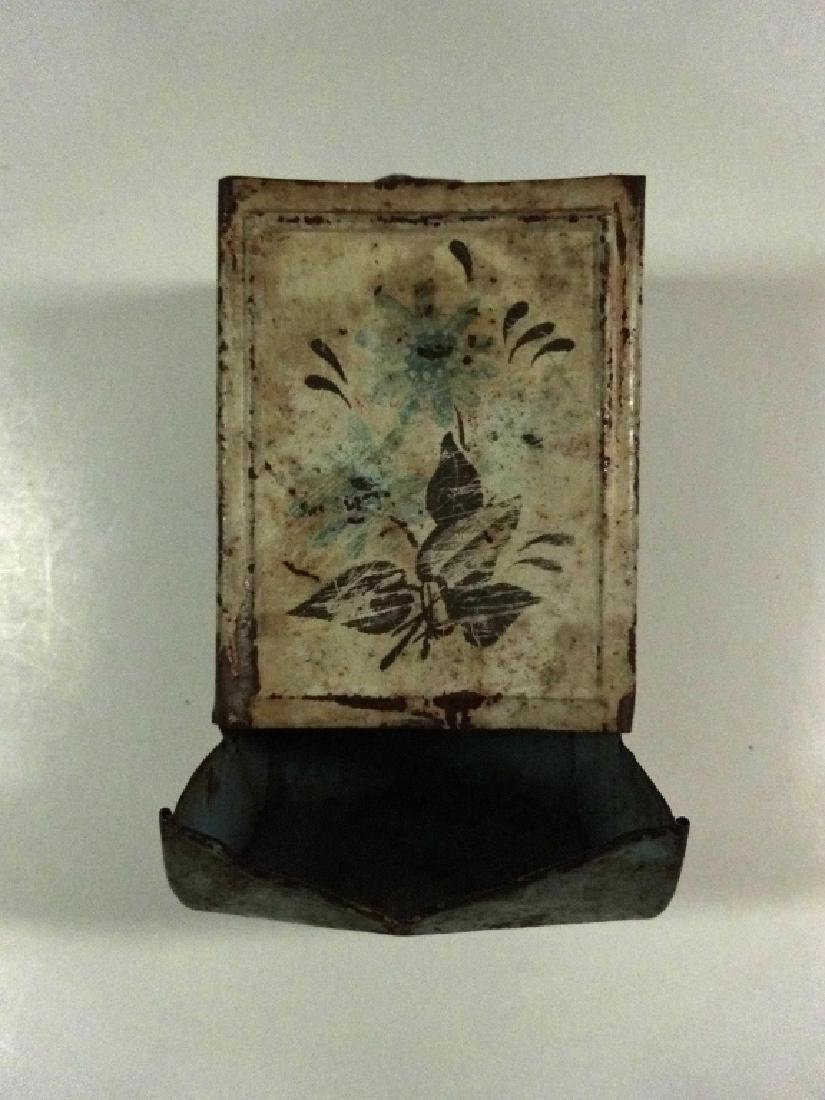 "VINTAGE METAL WALL MOUNT MATCH HOLDER, APPROX 6"" X 3 - 5"