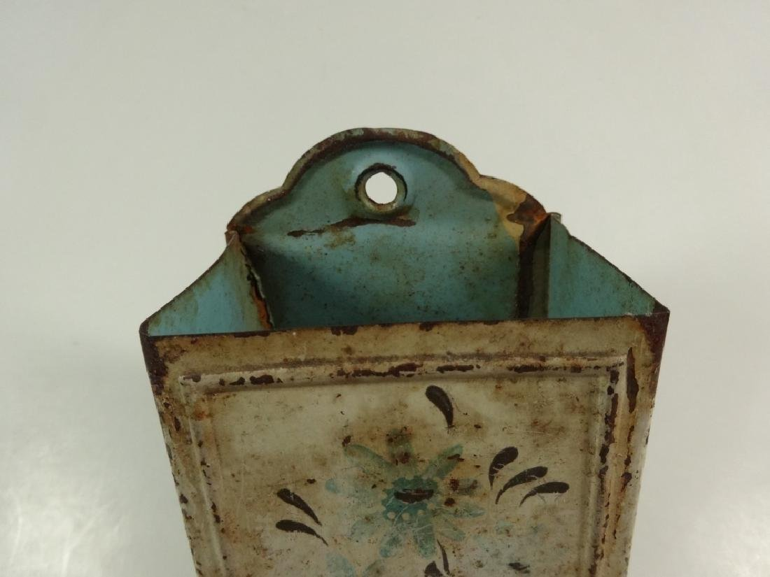 "VINTAGE METAL WALL MOUNT MATCH HOLDER, APPROX 6"" X 3 - 6"