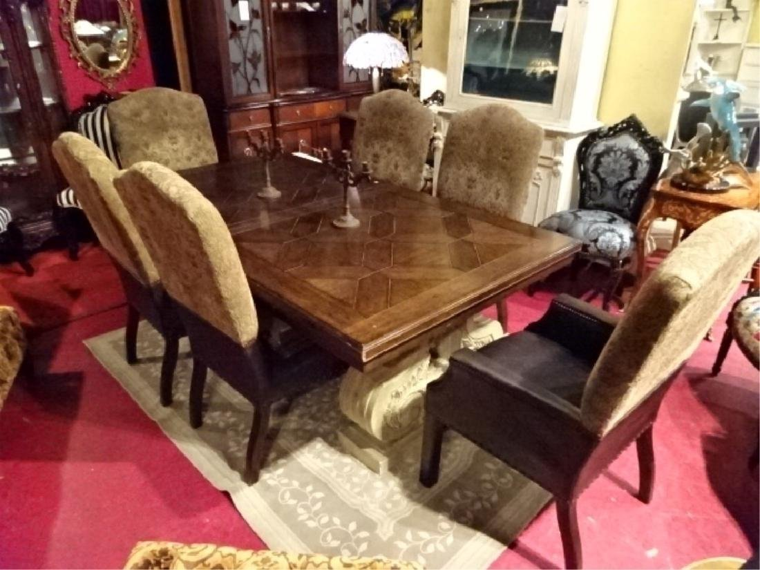 7 PC DUAL PEDESTAL DINING TABLE, 6 CHAIRS BY DREXEL