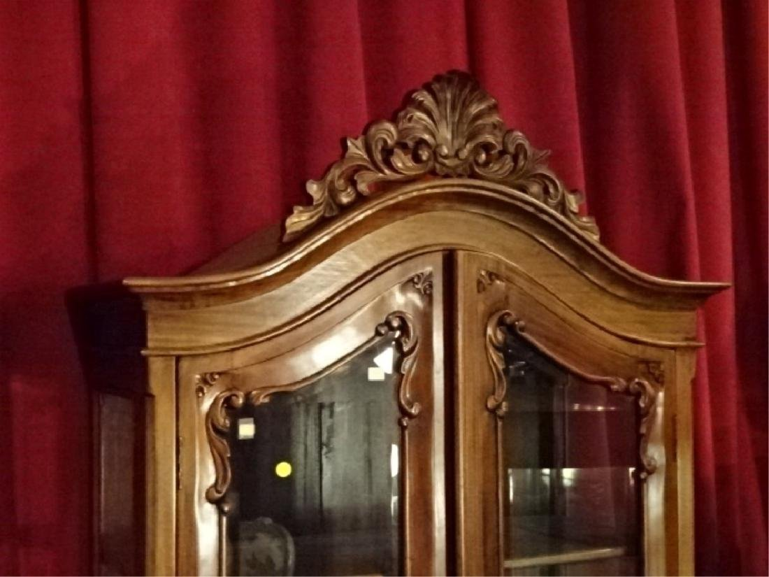 CHIPPENDALE STYLE WOOD CABINET, 2 GLASS DOORS - 2