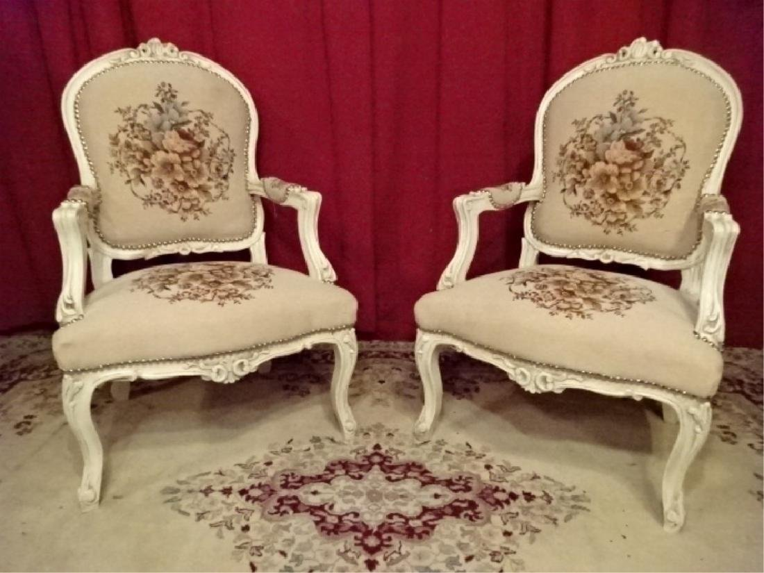 PAIR LOUIS XV STYLE ARM CHAIRS, WHITE FINISH CARVED