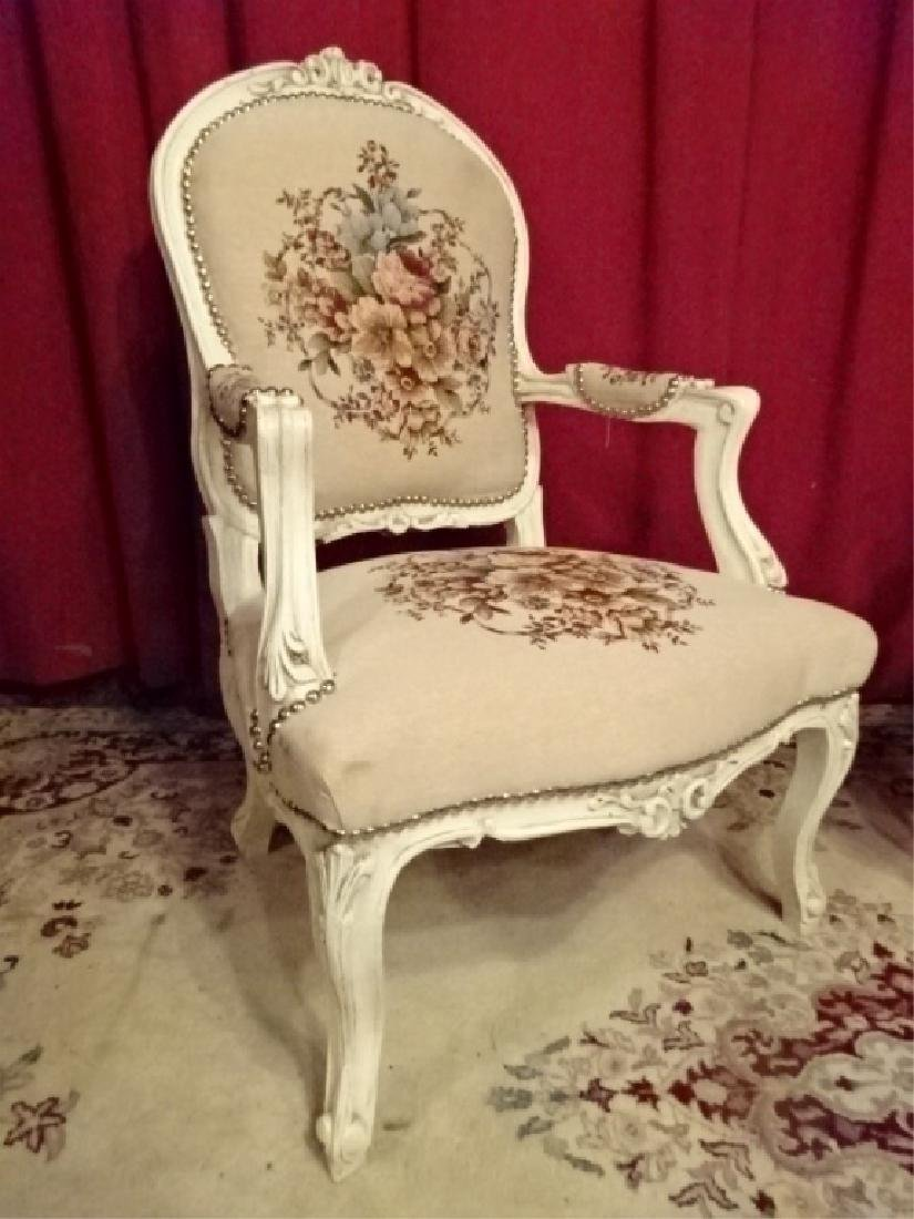 PAIR LOUIS XV STYLE ARM CHAIRS, WHITE FINISH CARVED - 2