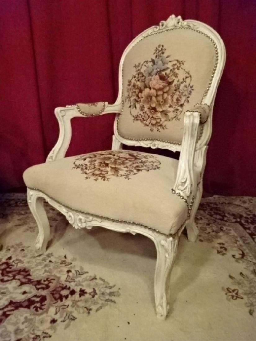 PAIR LOUIS XV STYLE ARM CHAIRS, WHITE FINISH CARVED - 3