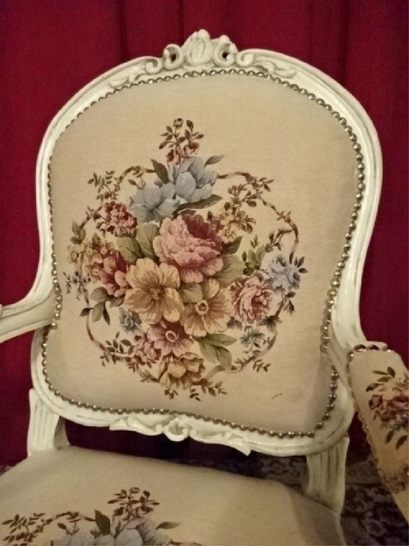 PAIR LOUIS XV STYLE ARM CHAIRS, WHITE FINISH CARVED - 4