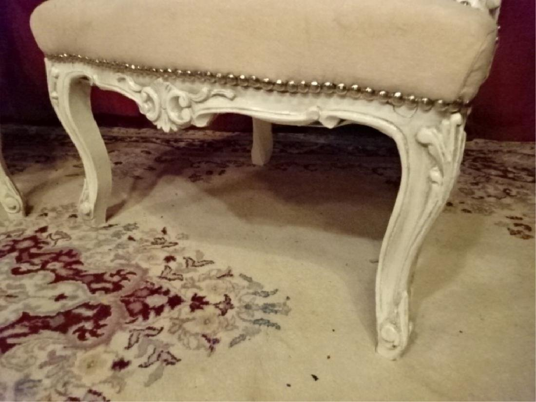 PAIR LOUIS XV STYLE ARM CHAIRS, WHITE FINISH CARVED - 5