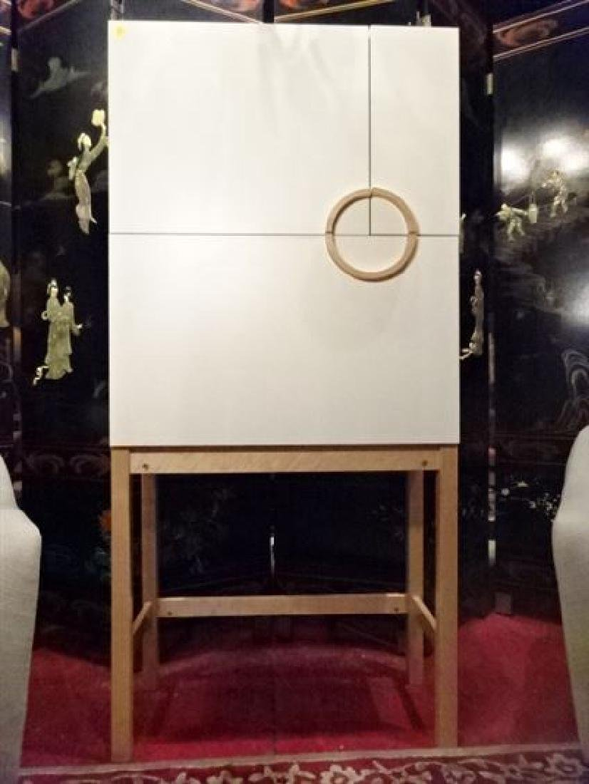 MODERN SECRETARY DROP FRONT DESK, WHITE ON NATURAL WOOD