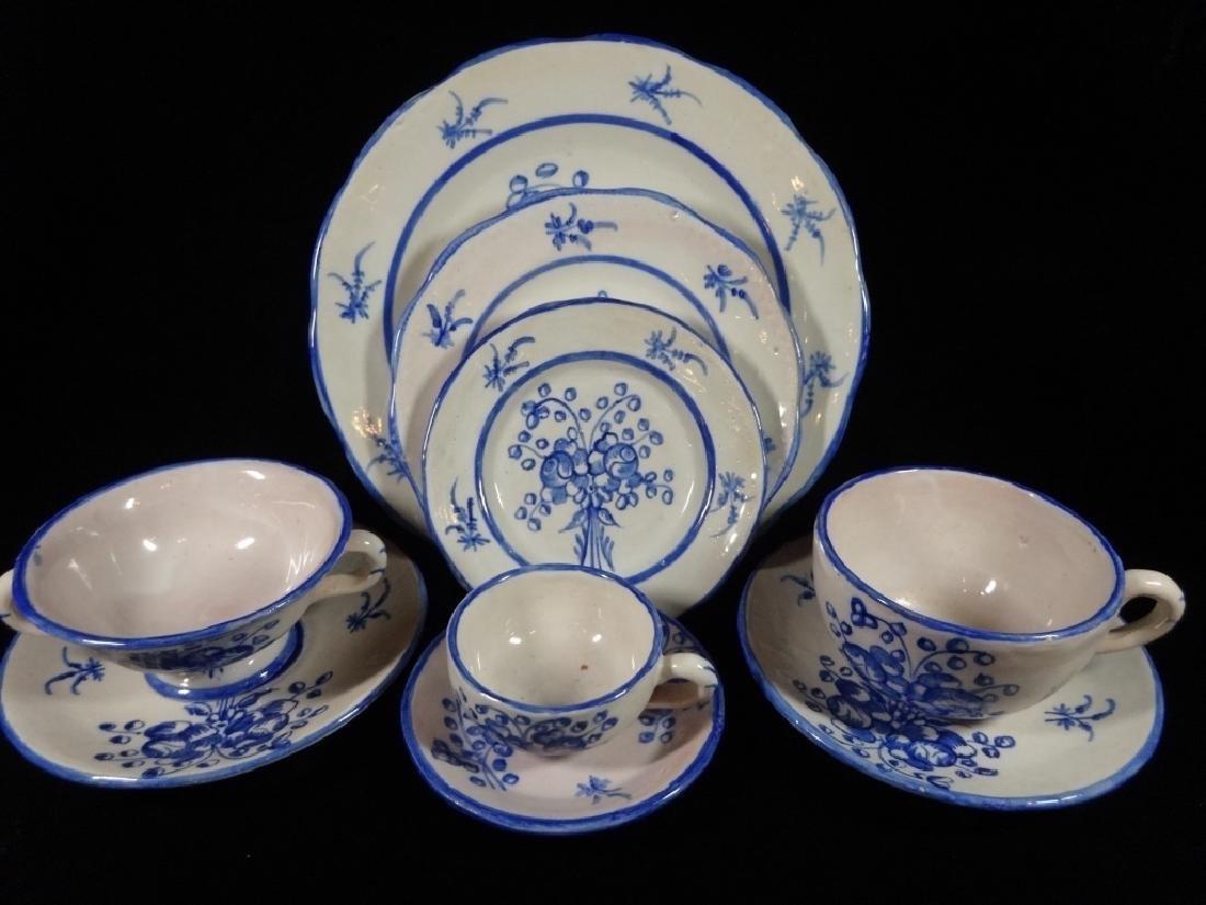 134 PC BLUE & WHITE MAJOLICA CHINA SERVICE, MADE IN
