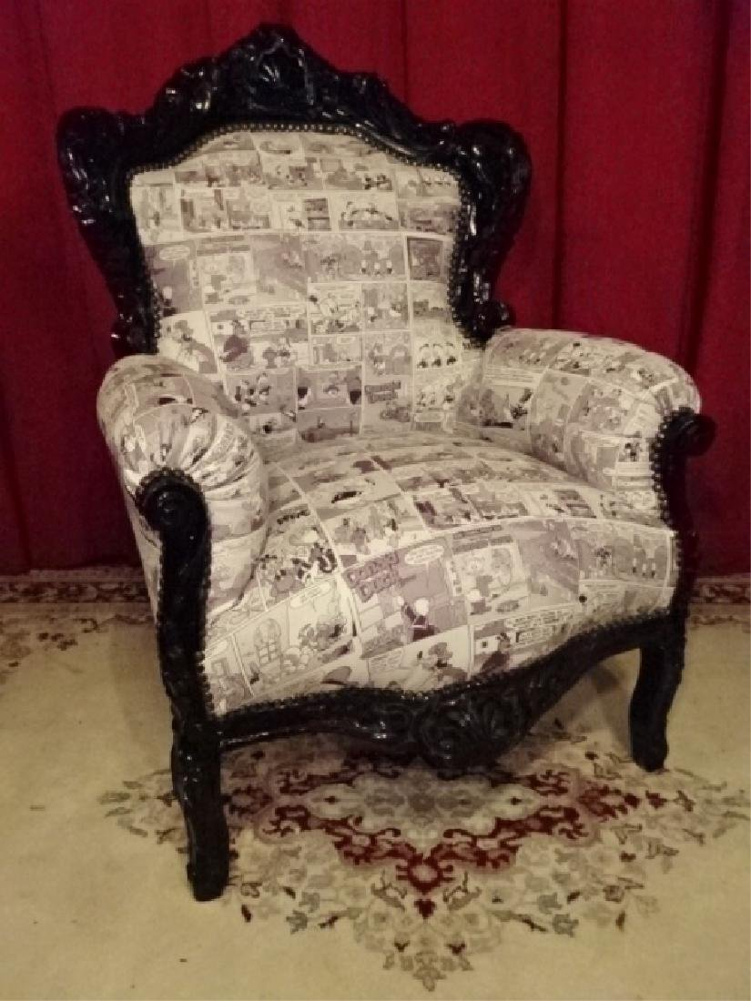 LOUIS XIV STYLE BERGERE ARM CHAIR, LEATHER UPHOLSTERY