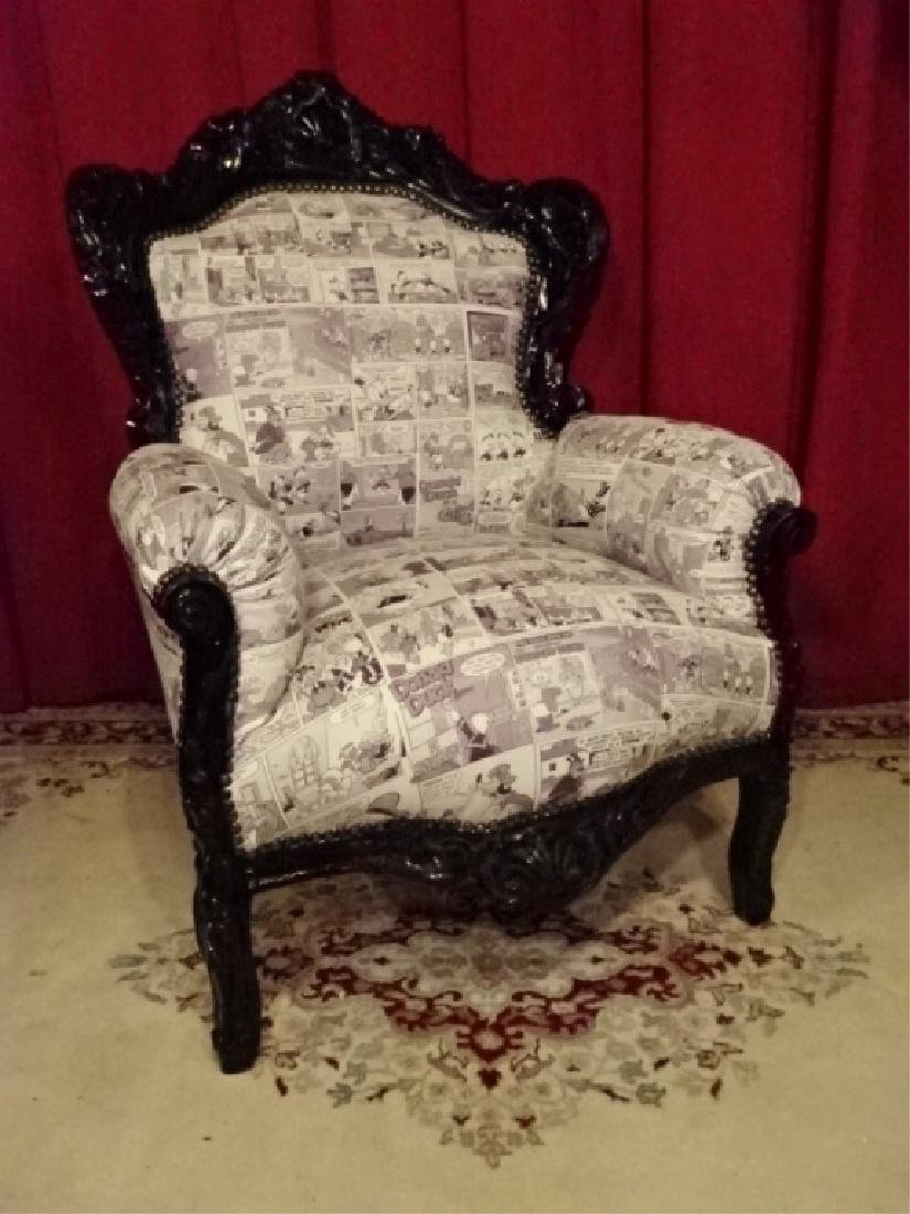 LOUIS XIV STYLE BERGERE ARM CHAIR, LEATHER UPHOLSTERY - 2